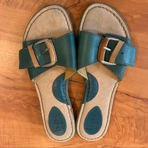 B.O.C Green and Tan leather sandals size 8